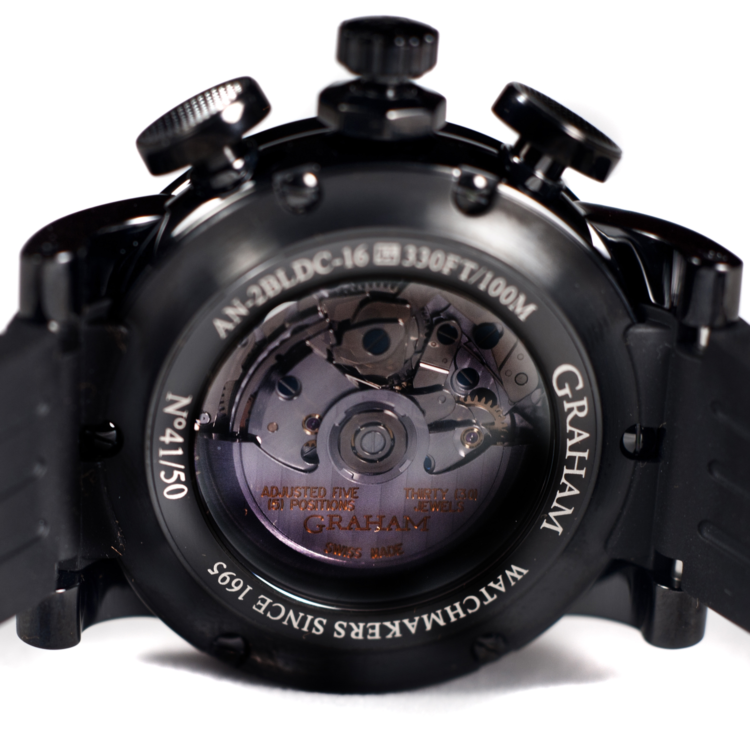 AN-2BLDC-17 Graham Silverstone Stowe 30 Jewels Automatic Racing Chrono BLK/ORG Only 50 PCS Made