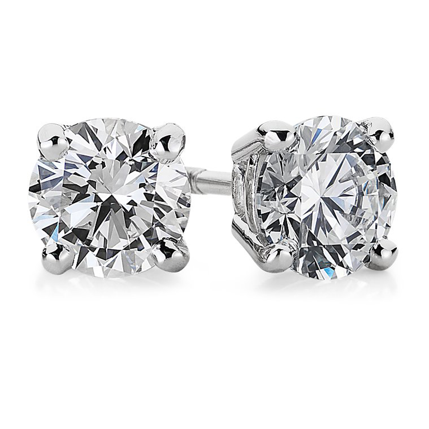 STUD-1CT-SI-G 1.0  CTTW  WG  SI 1 - SI 2 -  G TO H in Colour  Diamond Studs with Certificate