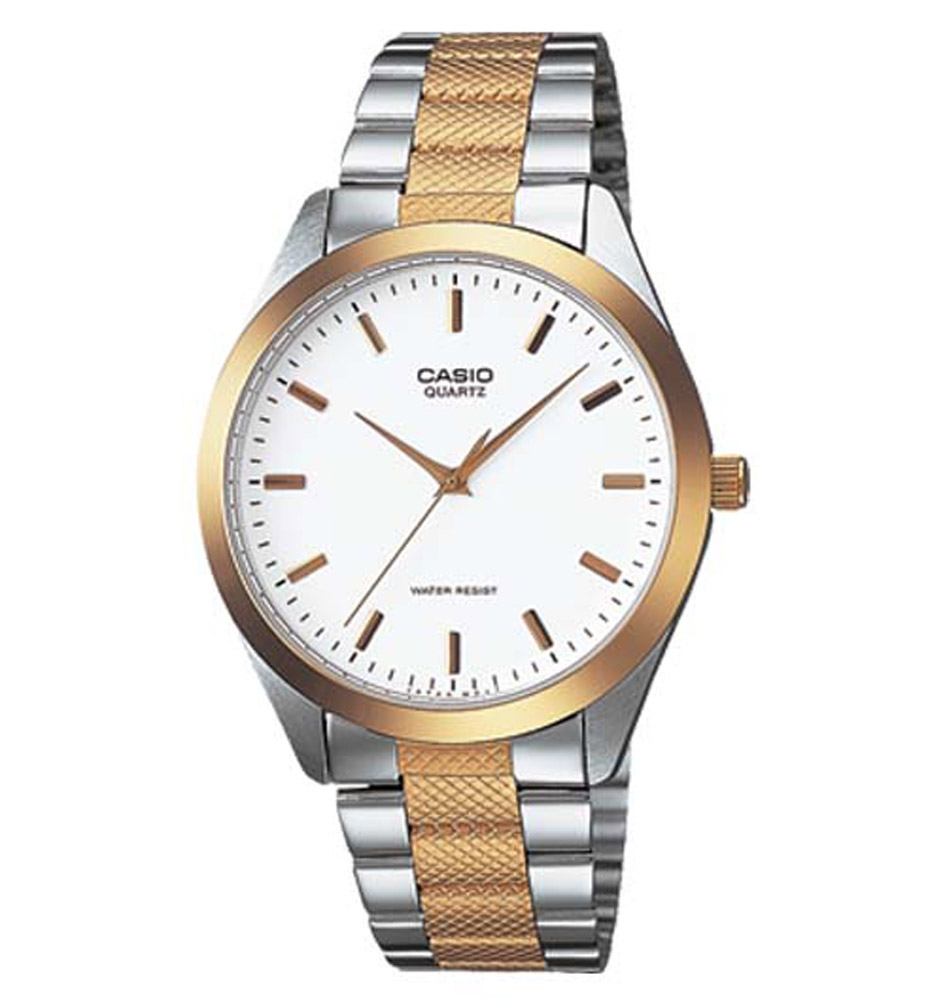 MTP-1274SG-7A Casio Mens Quartz Two Tone Band White Dial