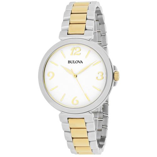 98L194 Bulova Womens Classic 98L194 Quartz Two tone silver gold tone Band White Dial