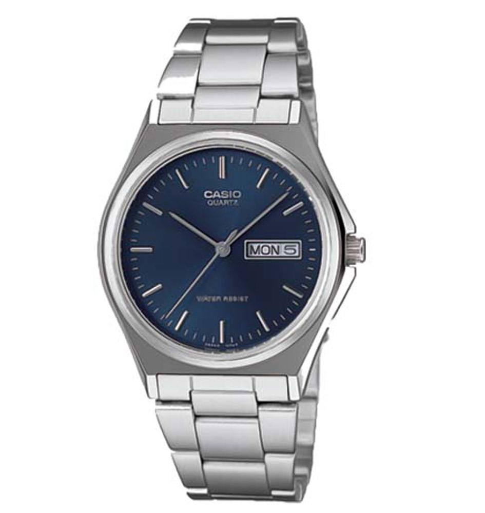MTP-1240D-2A Casio Mens Quartz Quartz Silver Band Blue Dial