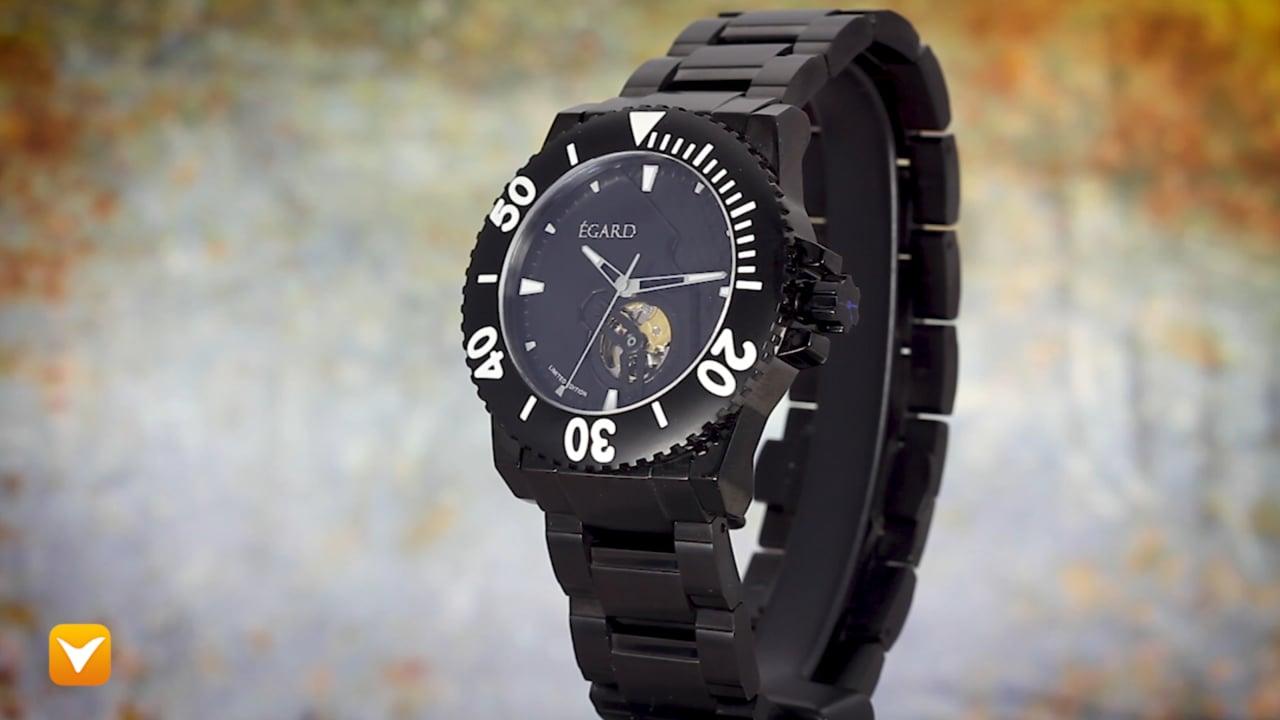 Egard WCH-CV175-C250 Egard Limited Edition Navita Automatic Open Heart Black IP