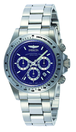 9329 Invicta Mens Speedway  Steel Band Blue Dial