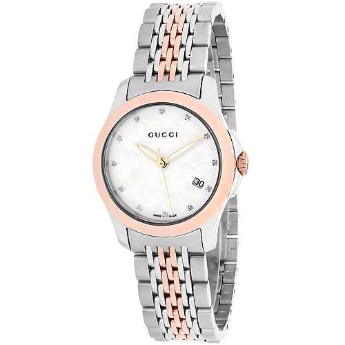 63a3b1c14d1 YA126514 Gucci Womens Timeless YA126514 Quartz Two-tone Gold Silver Band  White Dial