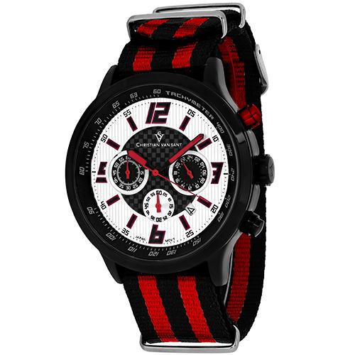 CV3122NR Christian Van Sant Mens Speedway Quartz  Black Red Band Silver/Red Dial