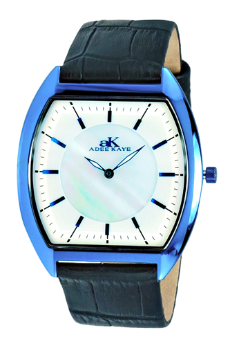 AK2200-MIPBU Adee Kaye Mens Slim Tonneau Collection  quartz IP Blue tone White Band White Dial