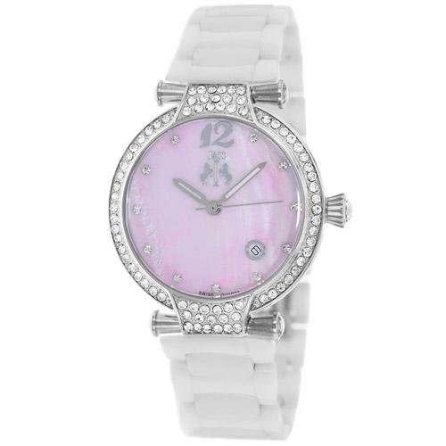 JV2214 Jivago Womens Bijoux White Band Pink MOP Dial