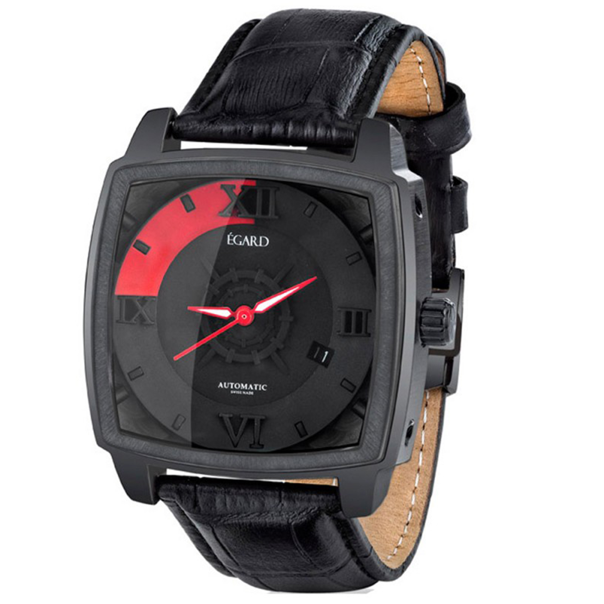 Egard GRD-HUN-LUE Egard Limited Edition Swiss Made Automatic Black IP Black/Red Dual Black Leather Strap