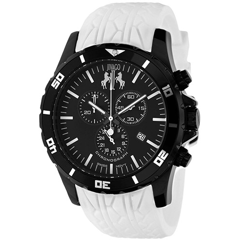 JV0124 Jivago Mens Ultimate White Band Black Dial