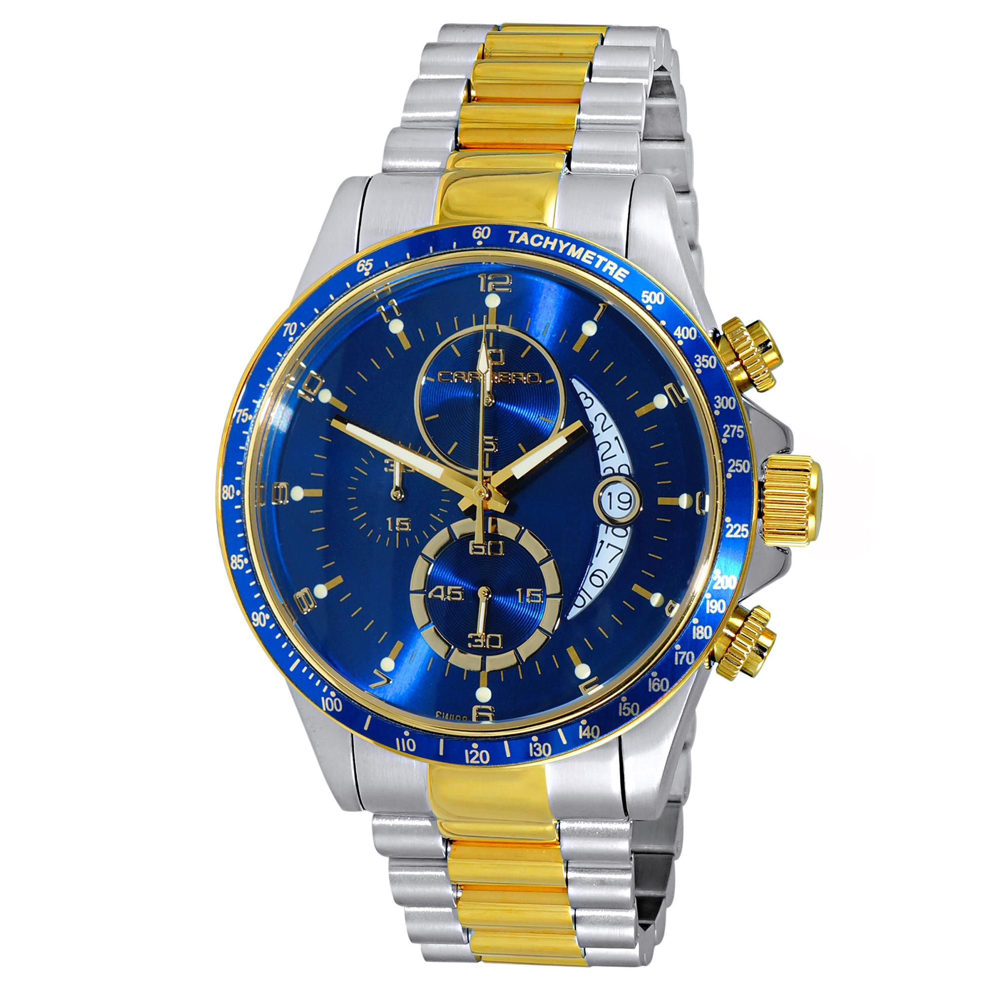 Carrero C2G111BU Carrero Catania R1 Limited Edition Swiss Chronograph Two-Tone Blue Dial