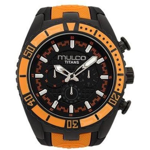 MW5-1836-615 Mulco Mens Titans Wave Black with orange accent Band Black Dial