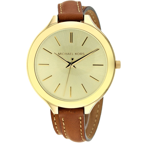 MK2256 Michael Kors Womens Slim Runway Brown Band Gold Dial