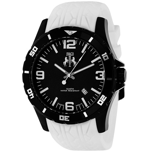 JV0114 Jivago Mens Ultimate White Band Black Dial