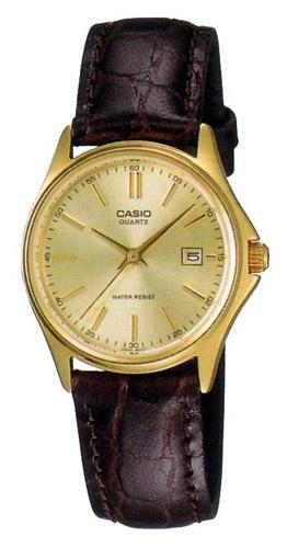 LTP-1183Q-9A Casio Womens Dress Quartz Brown Band Gold tone Dial