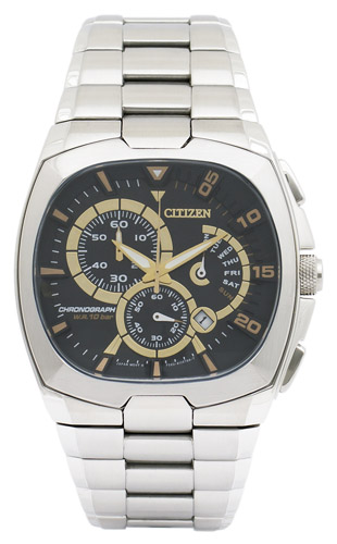 AN9000-53E Citizen Mens Classic Quartz Silver Band Black Dial