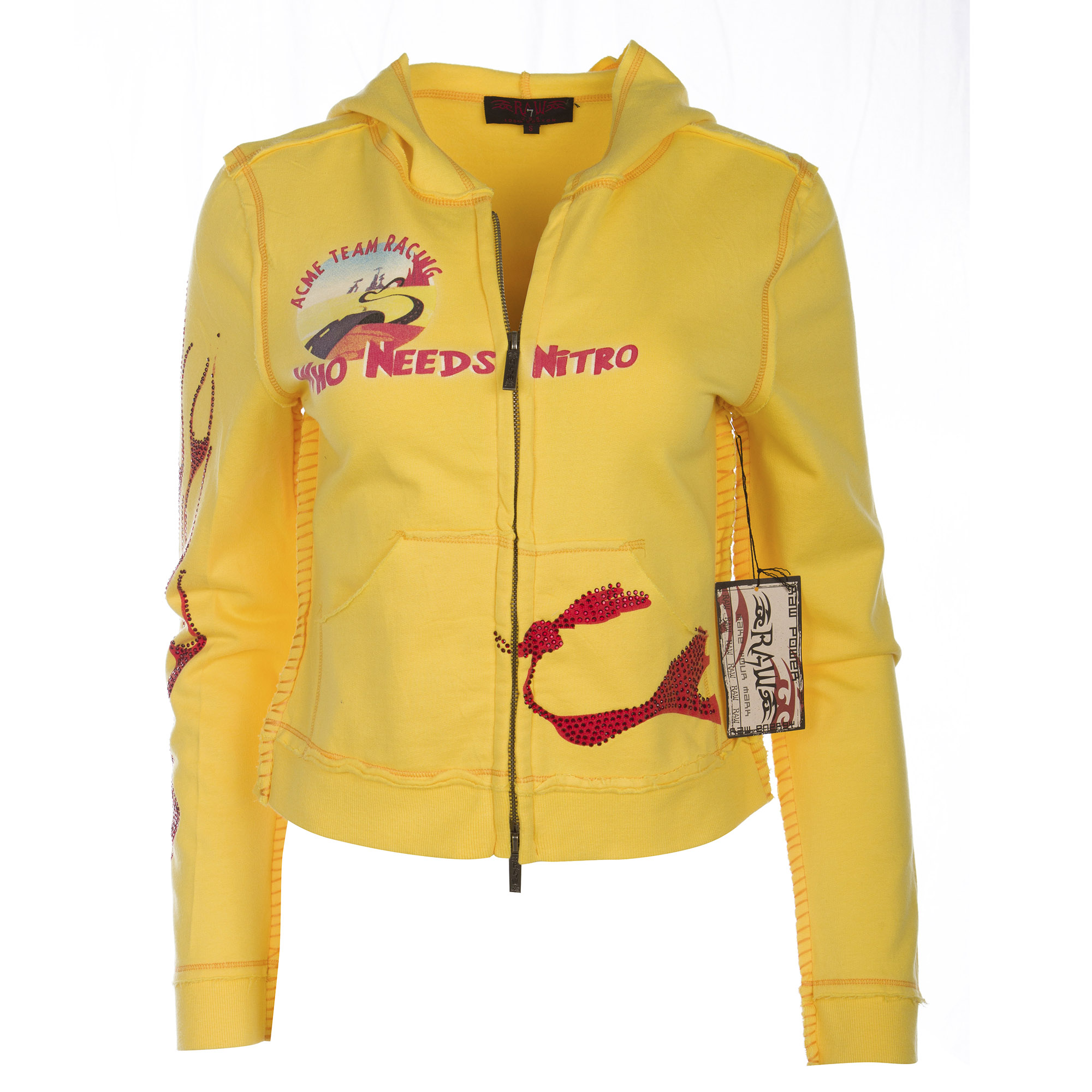 RAW 7 ST86-Wile-Y Looney Tunes Women's Yellow Zip Hoodie Wile E. Coyote and the Road Runner