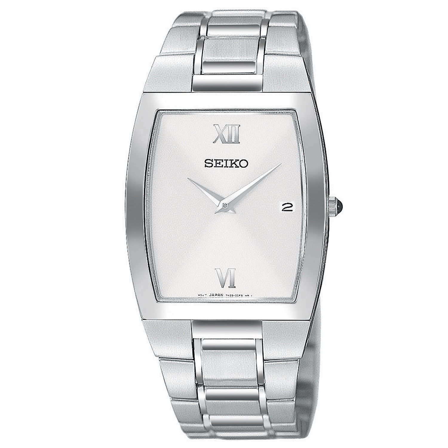 Seiko SKP323 Seiko Men's Tonneau Shaped Silver Sunburst Dial