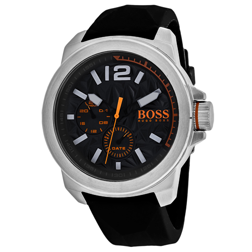 1513346 Hugo boss Mens Orange Quartz Black Band Black Dial