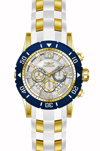 23706 Invicta Mens Pro Diver  White, Gold Band Silver Dial