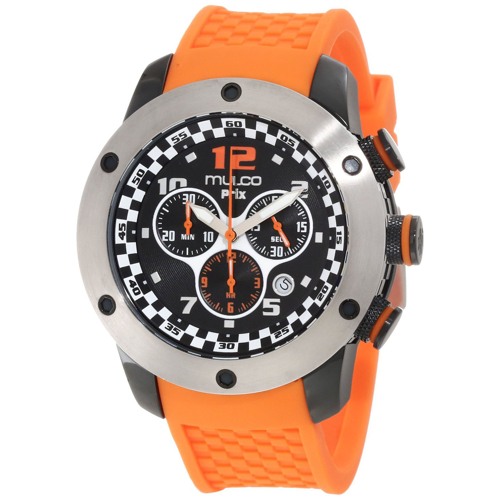 MW2-6313-085 Mulco Mens Prix Swiss Quartz Orange Band Black Dial