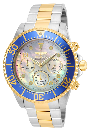 22038 Invicta Mens Pro Diver  Steel, Gold Band Platinum Dial