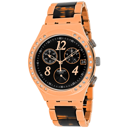 YCG404GC Swatch Womens Dreamnight Two-tone tortoise Rose gold Band Black Dial