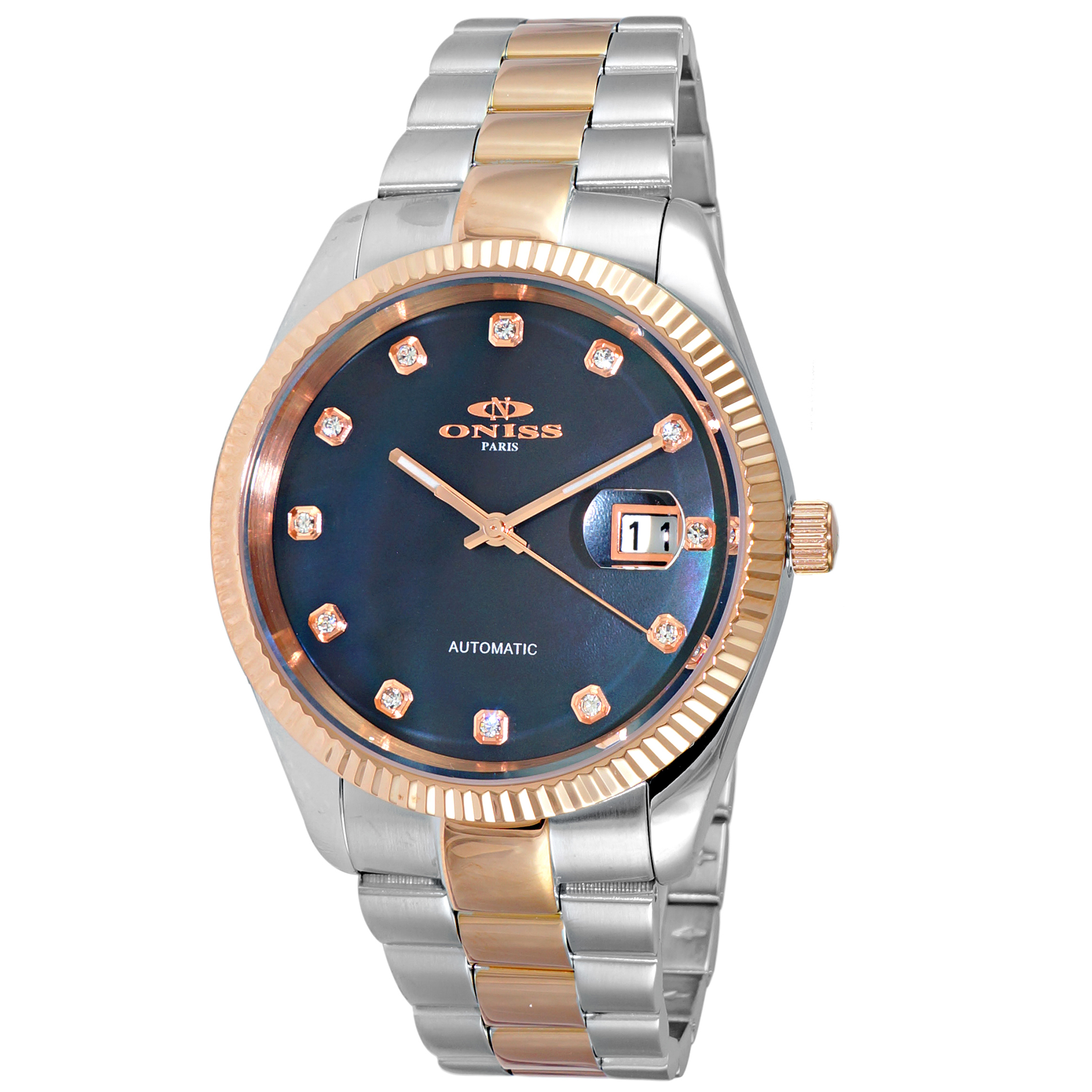 Oniss ON3885-2TBK Oniss RX Automatic Black Mother of Pearl Two Tone Rose Gold Glassback