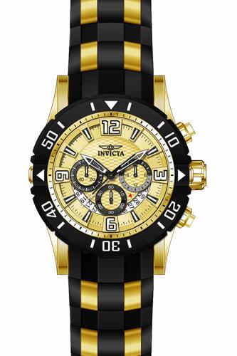 23705 Invicta Mens Pro Diver  Black, Gold Band Gold Dial