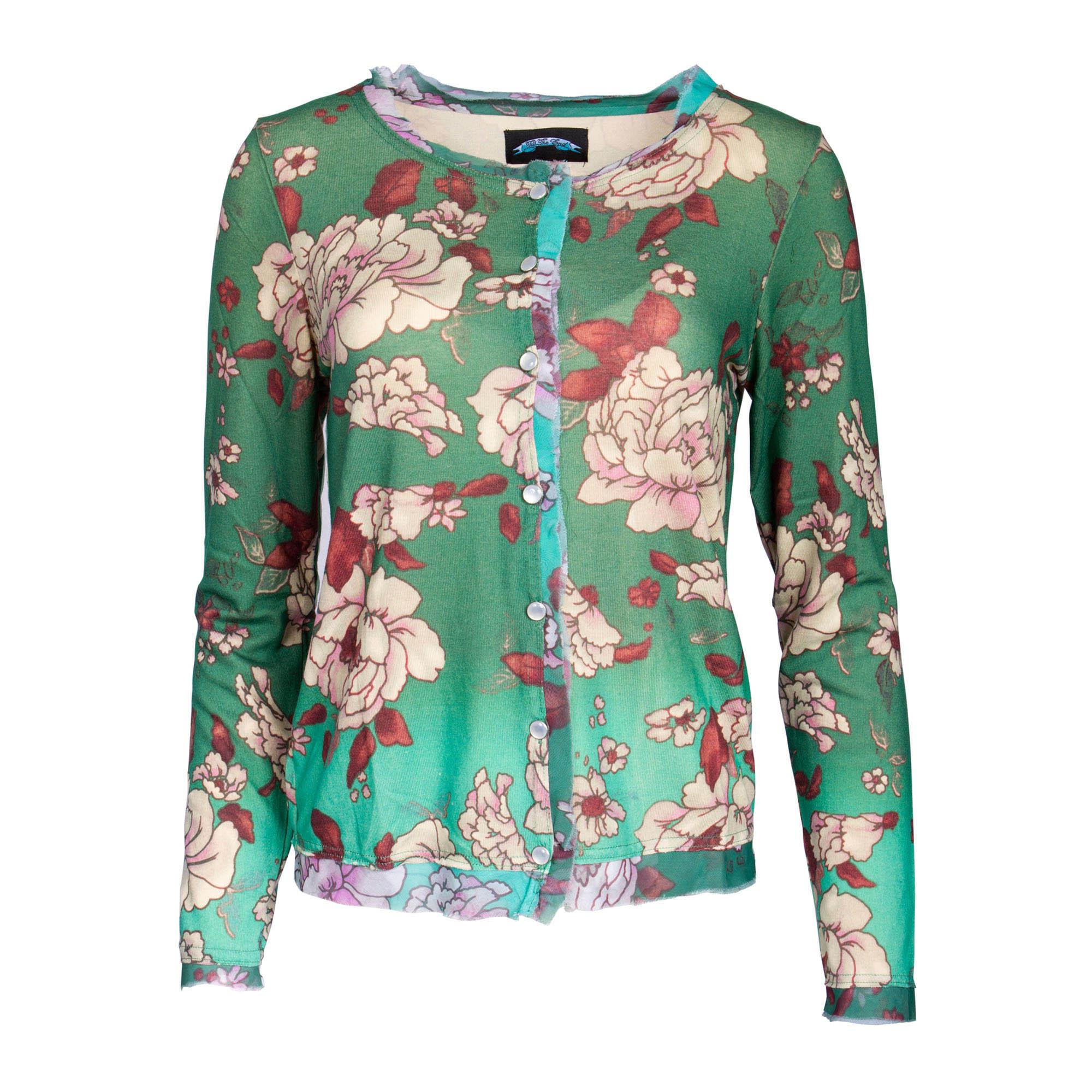 Till The End T09H06-BlueRose Till The End Women's Green Long Sleeve Button Down Top - Floral Design