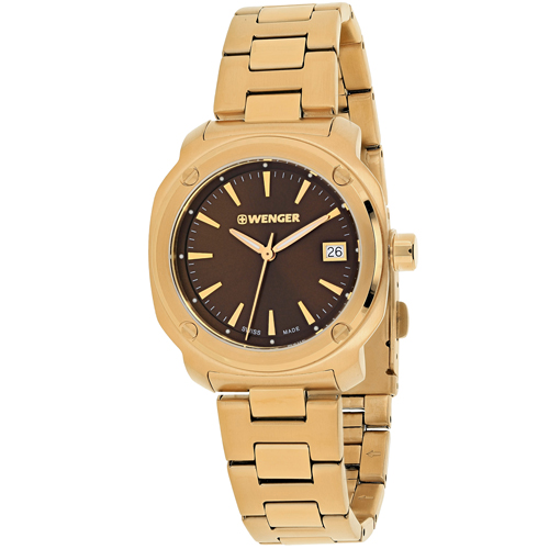 01.1121.105 Wenger Womens Edge Index Rose Gold Band Brown Dial