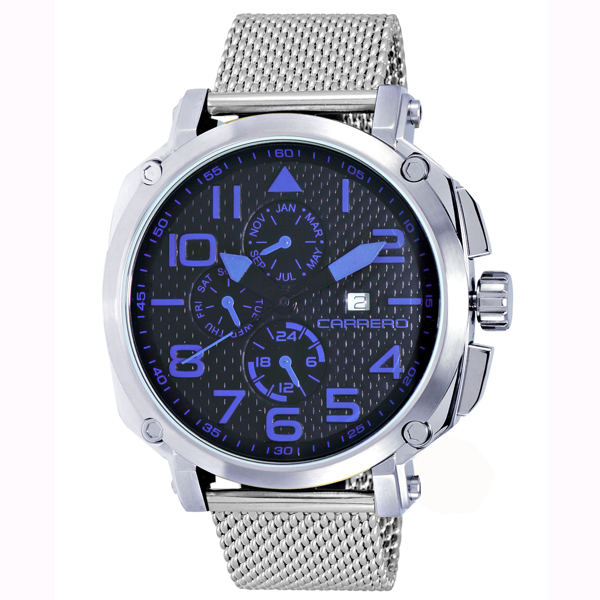 Carrero 9EA141R01-MESH Carrero Special Edition Swiss Triple Date Blue-Black Textured Dial Custom Dark Silver Mesh Band