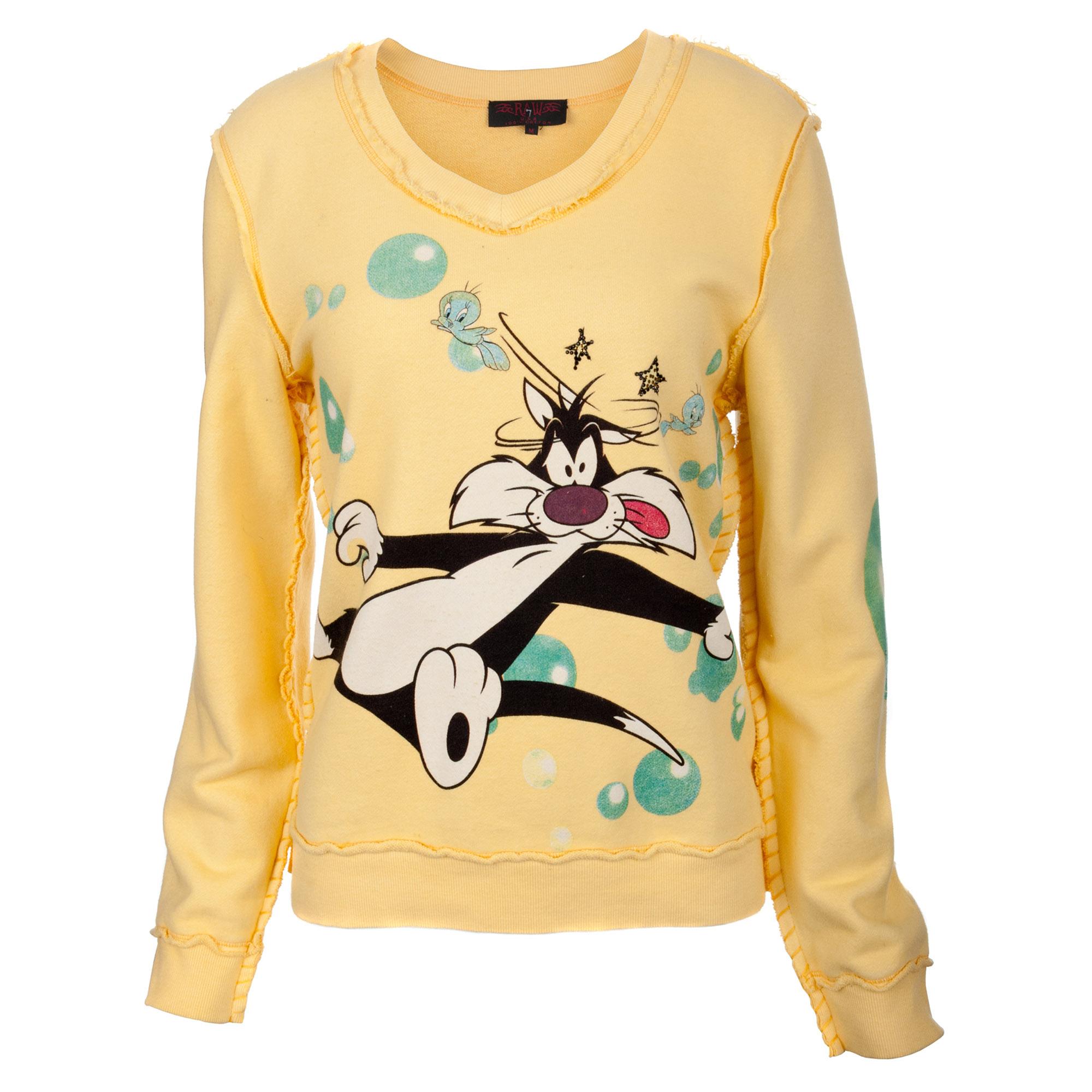 RAW 7 ST72- Syl Looney Tunes Women's Yellow Sweatshirt Sylvester & Tweet Graphic