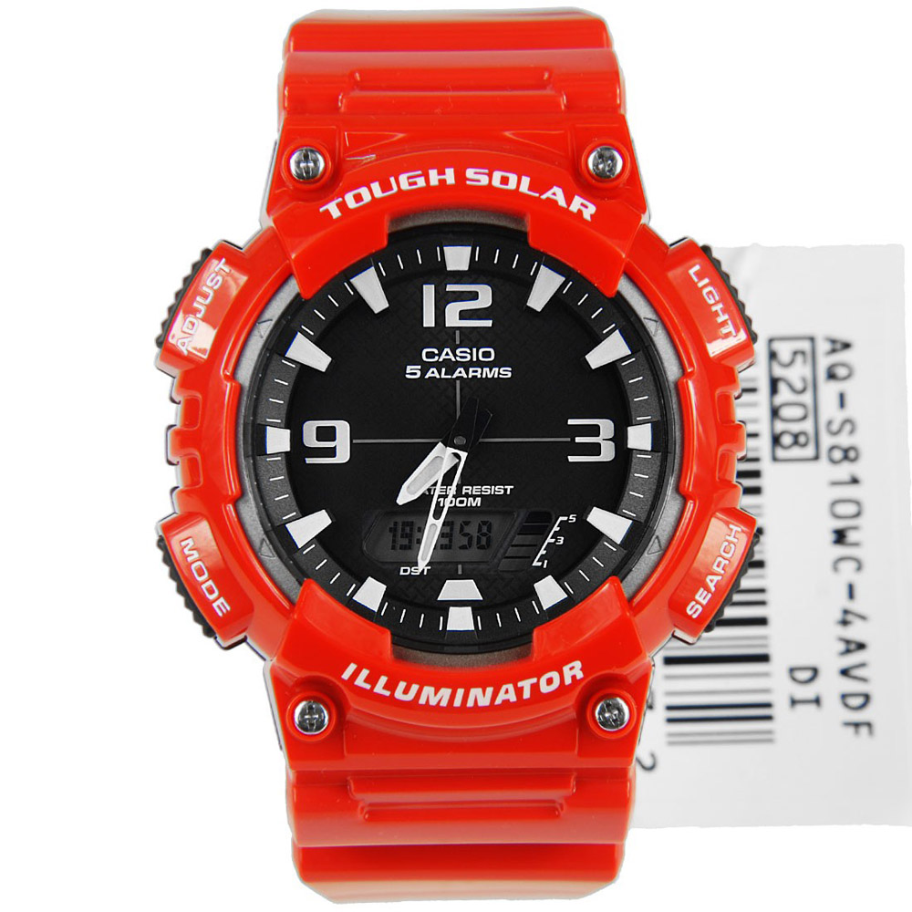 AQ-S810WC-4AV Casio Mens Ana-digi Red Band Black Dial