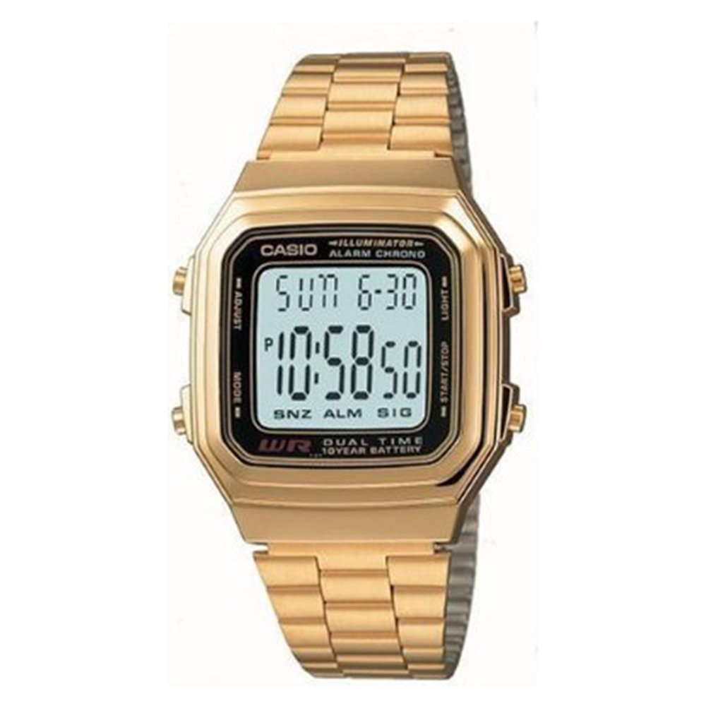 A-178WGA-1A Casio Mens Digital Vintage Quartz Gold Tone Band Digital Dial