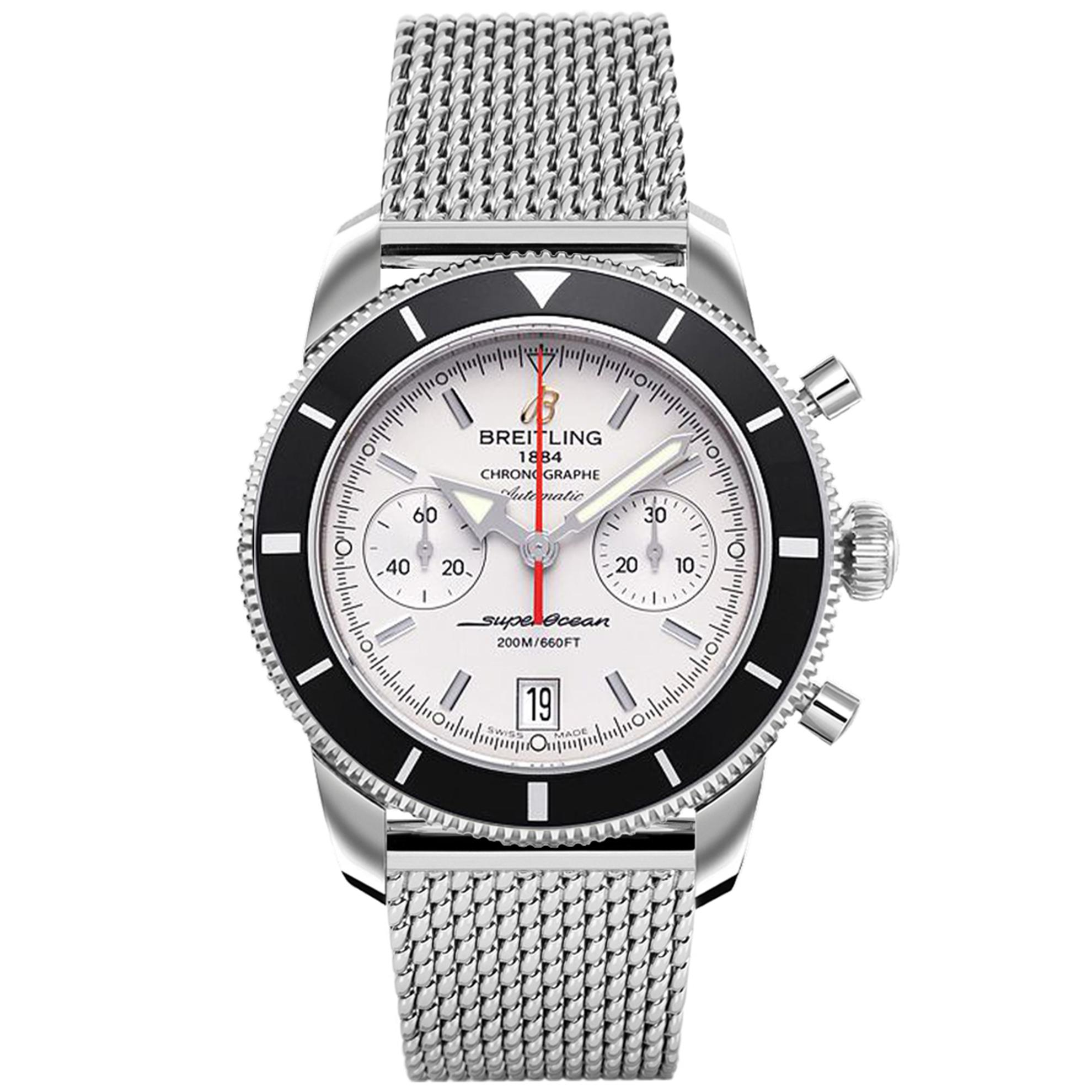 Breitling A2337024.G753S Breitling Superocean Heritage Chronograph 44 Automatic Silver Dial Mesh Band