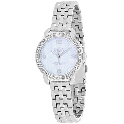 14502477 Coach Womens Delancey Quartz Silver Band White MOP Dial