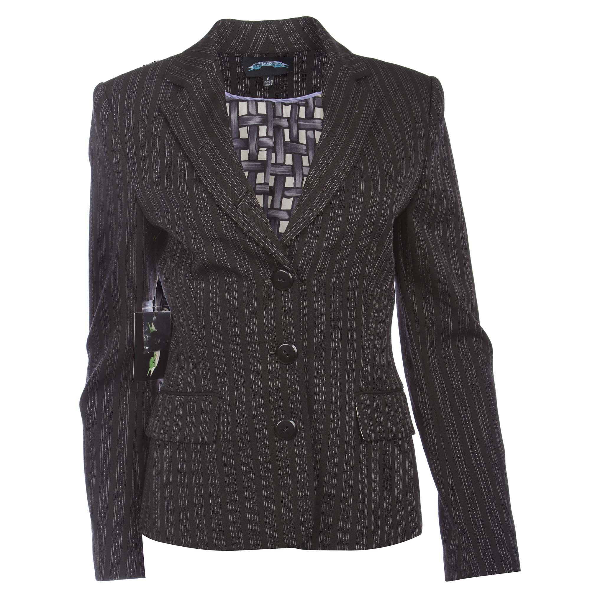 Till The End TTE-2032 Till The End Women's Black Blazer with Grey Stitch Stripe