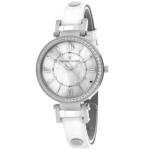 CV8130 Christian Van Sant Womens Petite Swiss  Quartz White Band White MOP Dial
