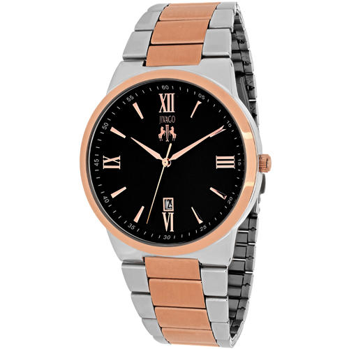 JV3515 Jivago Mens Clarity Two-tone silver rose gold Band Black Dial