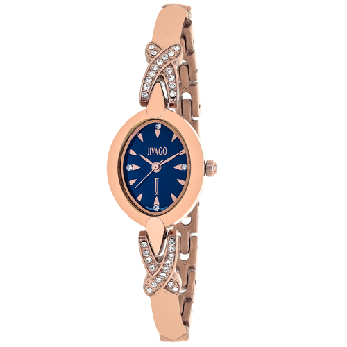 JV3614 Jivago Womens Via Rose gold Band Blue Dial
