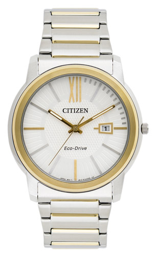 AW1214-57A Citizen Mens Eco-Drive Quartz Silver With Gold Accent Band SIlver Dial