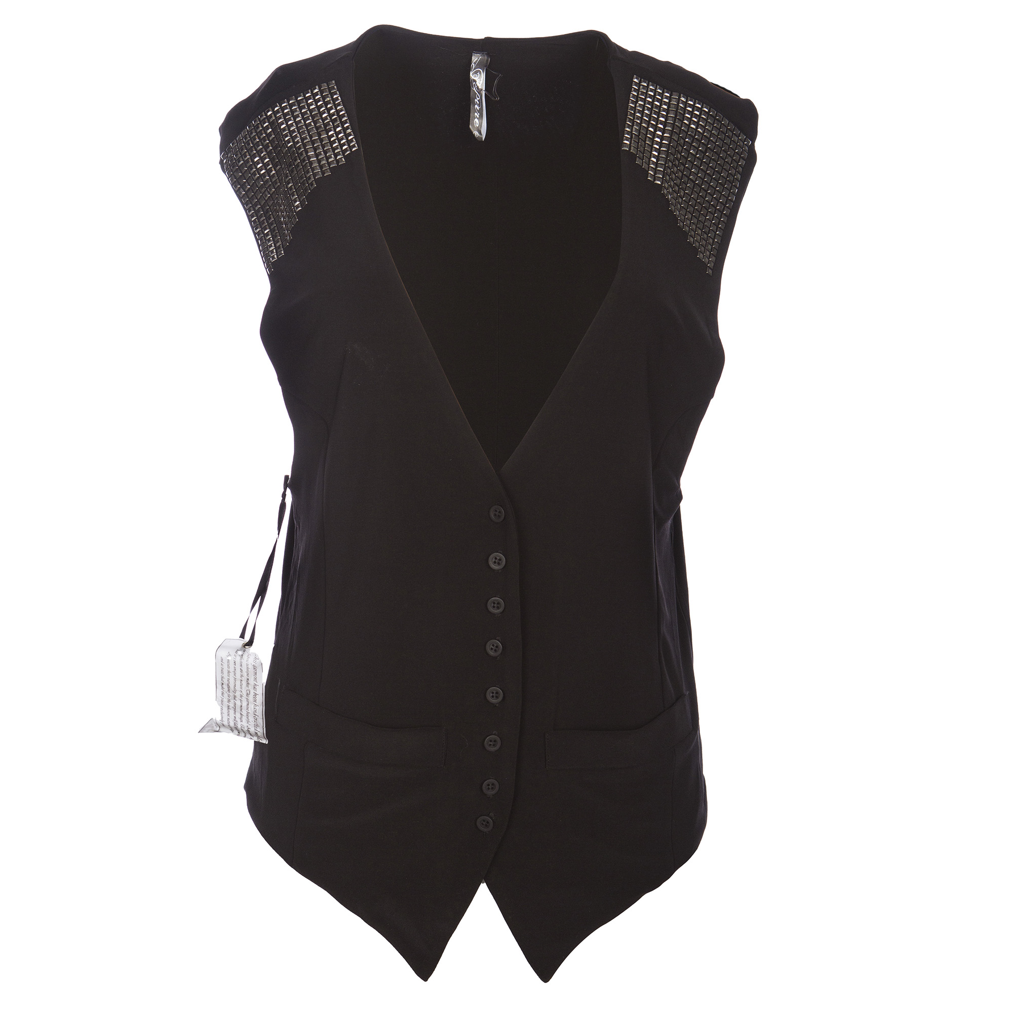 RAW 7 P10A42 Pure by Raw7 Women's Black Vest with Metal Detail