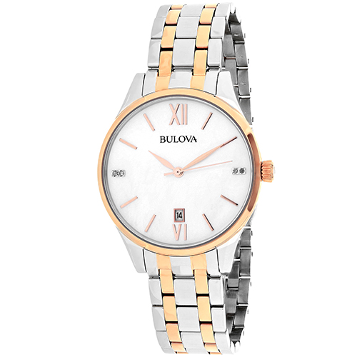 98S150 Bulova Womens Diamond 98S150 Quartz Two tone silver rose gold Band White MOP Dial