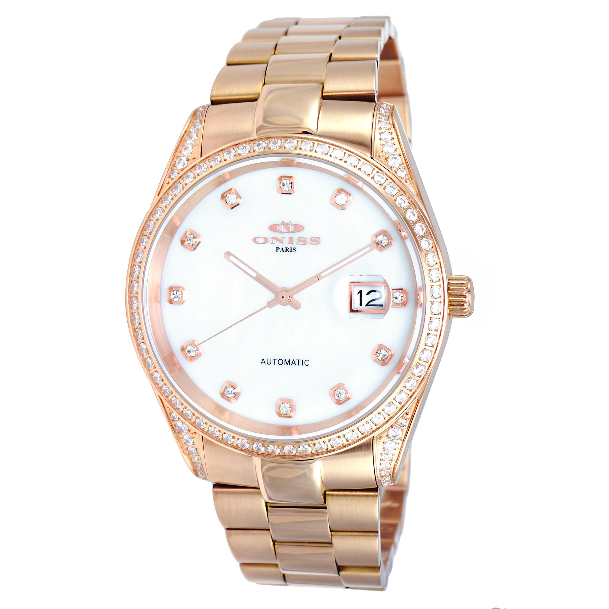 Oniss N3883-RGWT Oniss RX Automatic 104pcs (Grade A ) Austrian Crystals Rose Gold White Dial