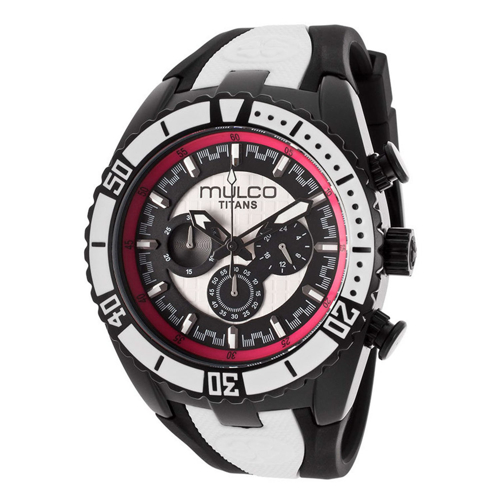 MW5-1836-028 Mulco Mens Titans Wave Black with White accent Band White Dial