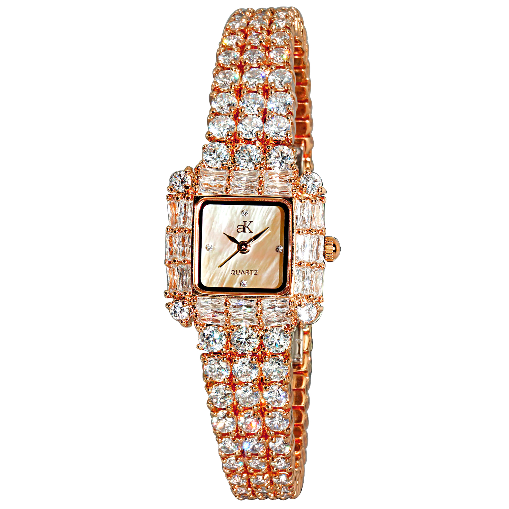 Adee Kaye AK27-LRG Adee Kaye Ladies Royal Collection Rose Gold MOP Dial