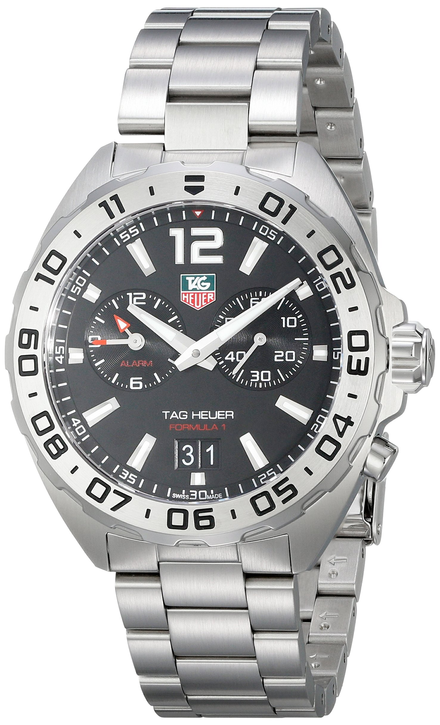 Tag Heuer WAZ111A.BA0875 TAG Heuer Formula 1 Alarm Stainless Steel Black Dial