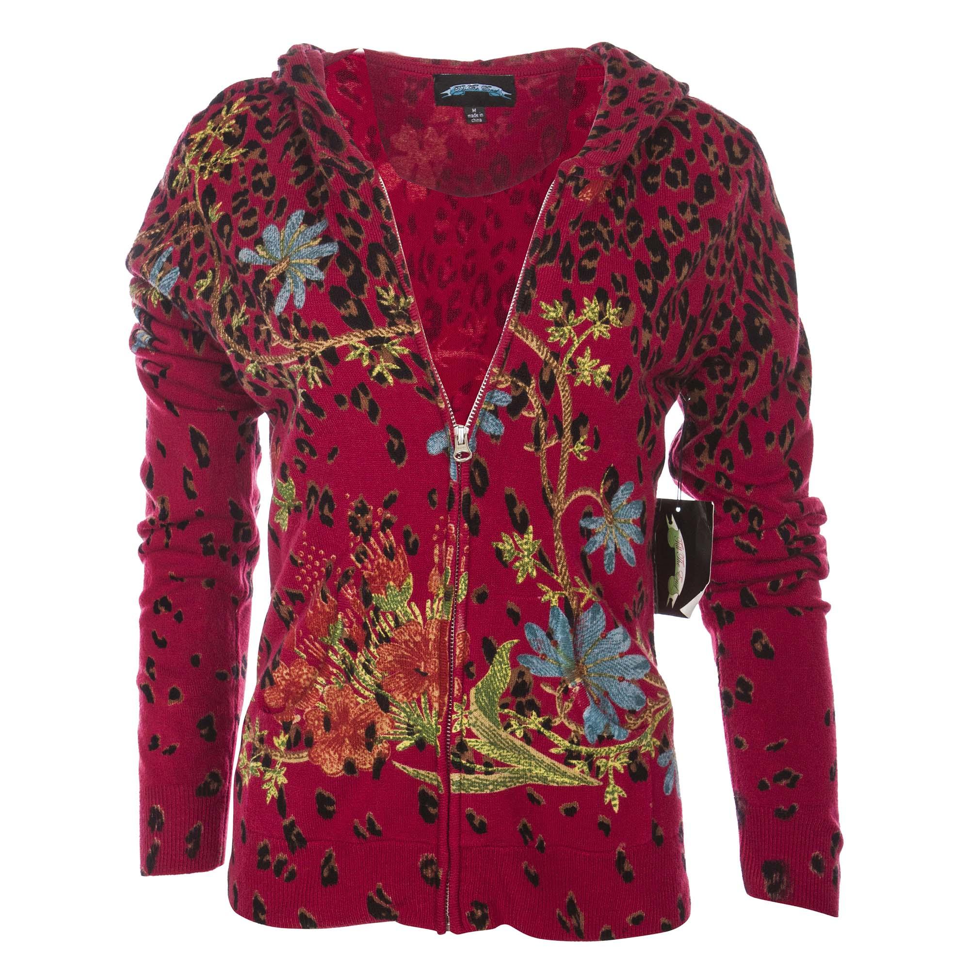 Till The End T09102-Red-GardenLeopard Till The End Women's Acrylic Zip Hoody Garden Leopard - Red