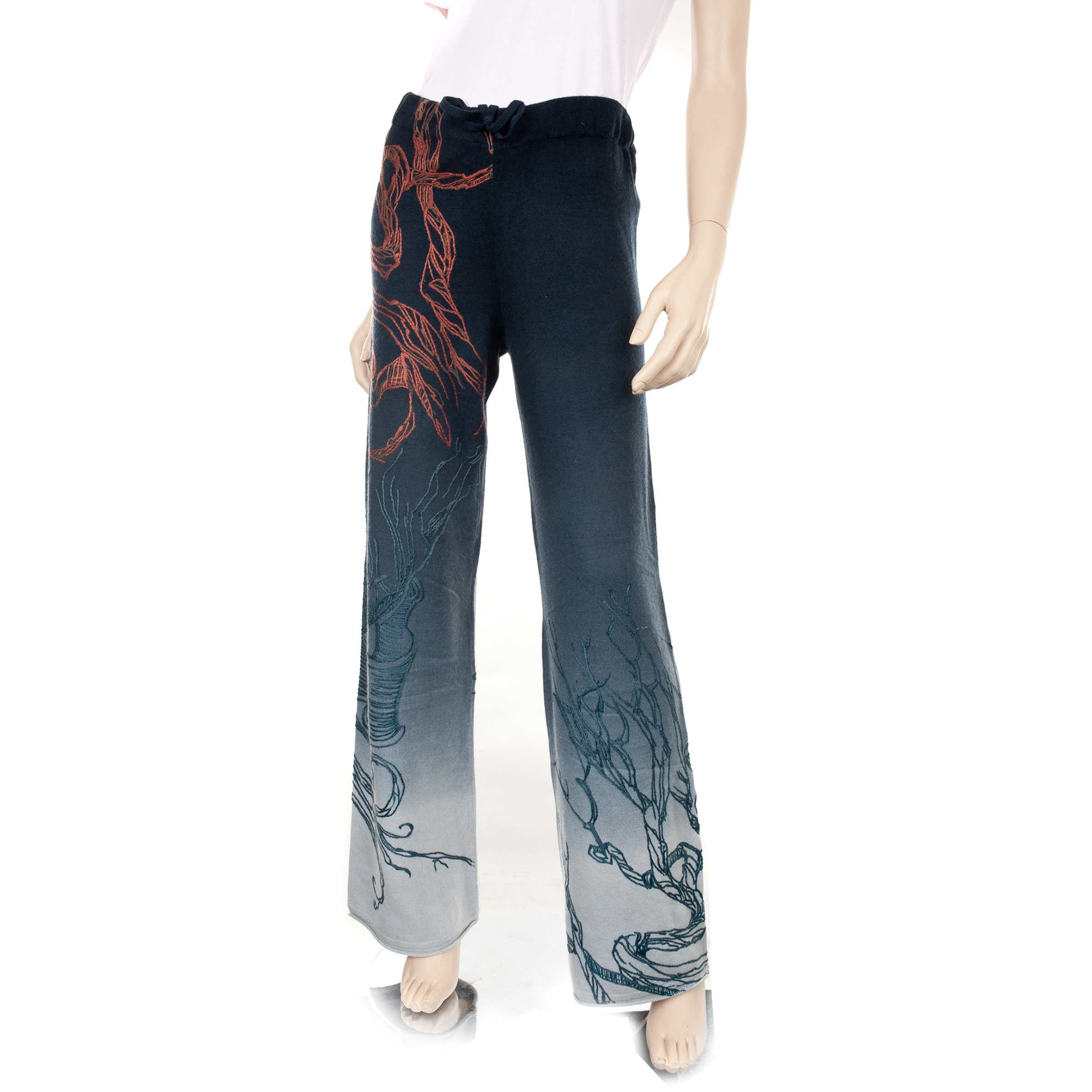 RAW 7 CM3602-MIST Raw 7 Ladies 100% Cashmere Pants Navy/Light Blue with Abstract Nature Embroidery