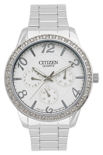 ED8120-54A Citizen Womens Swarovski Elements  Quartz Silver Band Silver Dial